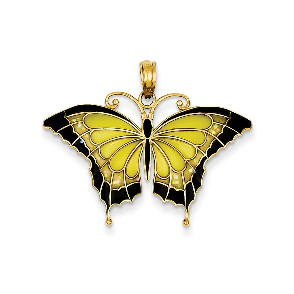 14k Yellow Gold Yellow Stained Wings Butterfly Pendant