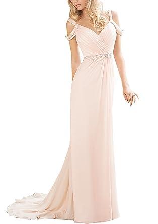 onlinedress Womens Hot Sale Cap Sleeve Beaded Long Bridesmaid Dress Prom Gown - Pink - 12