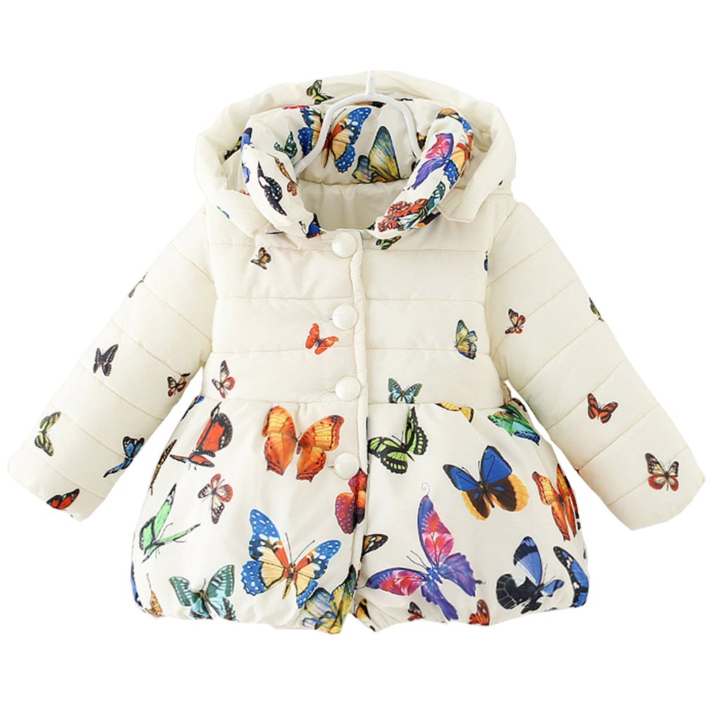 DORAMI Baby Girls Winter Autumn Cotton Warm Butterfly Jacket Coat