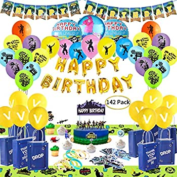 1 Birthday Party Banner Esjay Birthday Party Supplies Set for Game Themed-Including 24 Chug Jug Bottle Labels 24 Game Party Drop Box 24 Cupcake Toppers 24 Styles