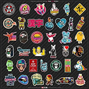 LAPTOP STICKERS [115 pcs] by REBEL ART SQUAD | Reusable glossy vinyl decals for cars, walls, skateboards, etc.| Dope sticker pack for a few bucks!