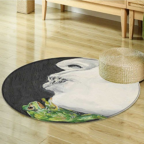 Small round rug Carpet the Frog Prince Soul Mates Boho Chic Art Grey Green Black door mat indoors Bathroom Mats Non Slip-Round ()