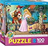 """EuroGraphics Princess Song 100-Piece Puzzle. Box size: 8"""" x 8"""" x 2.37"""". Finished Size: 13"""" x 19"""". What a beautiful day to be a Princess! With her own personal troubadour to follow wherever she walks, the world will know that the Princess has ..."""