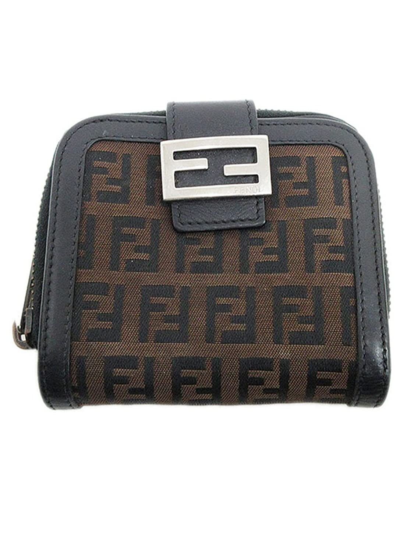 FENDI(フェンディ) ズッキーノ 二つ折り財布 8M0070 黒 ブラック×茶 ブラウン キャンバス×レザー 【ブランド財布】 【中古】 B079XZH6KN