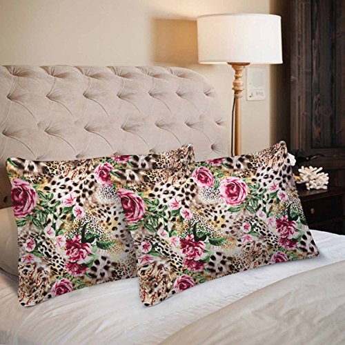 InterestPrint Wild Animal Leopard Print Safari Floral Rose Flower Pillow Cases Pillowcase Standard Size 20x30 Set of 2, Rectangle Pillow Covers Protector for Home Couch Sofa Bedding Decorative by InterestPrint (Image #1)