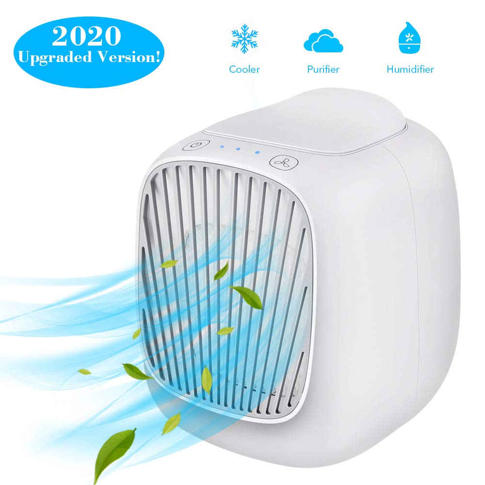 Hisome Mini Air Cooler, 3 in 1 Portable Mini Air Condition, Air Cooler & Humidifier Fan & Purifier with 3 Adjustable…