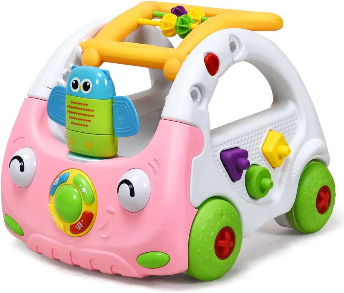 COSTWAY 3 en 1 Andador para Bebé con Música y Luces Altura Ajustable Correpasillos para Niños de 6 a 36 Meses (Rosa)