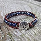Dumortierite Beaded Leather Wrap Bracelet Cuff With Tree Third Eye