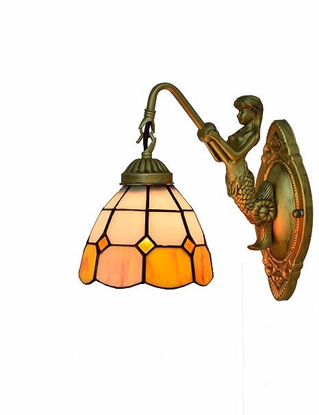 DLewiee Lámpara de Mesa Naranja Europea Vidrieras Retro ...