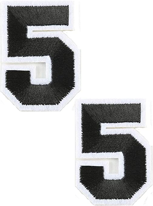 """- Iron On Embroidered Applique//Numbers Number White Number /""""9/"""" 1 7//8/"""""""