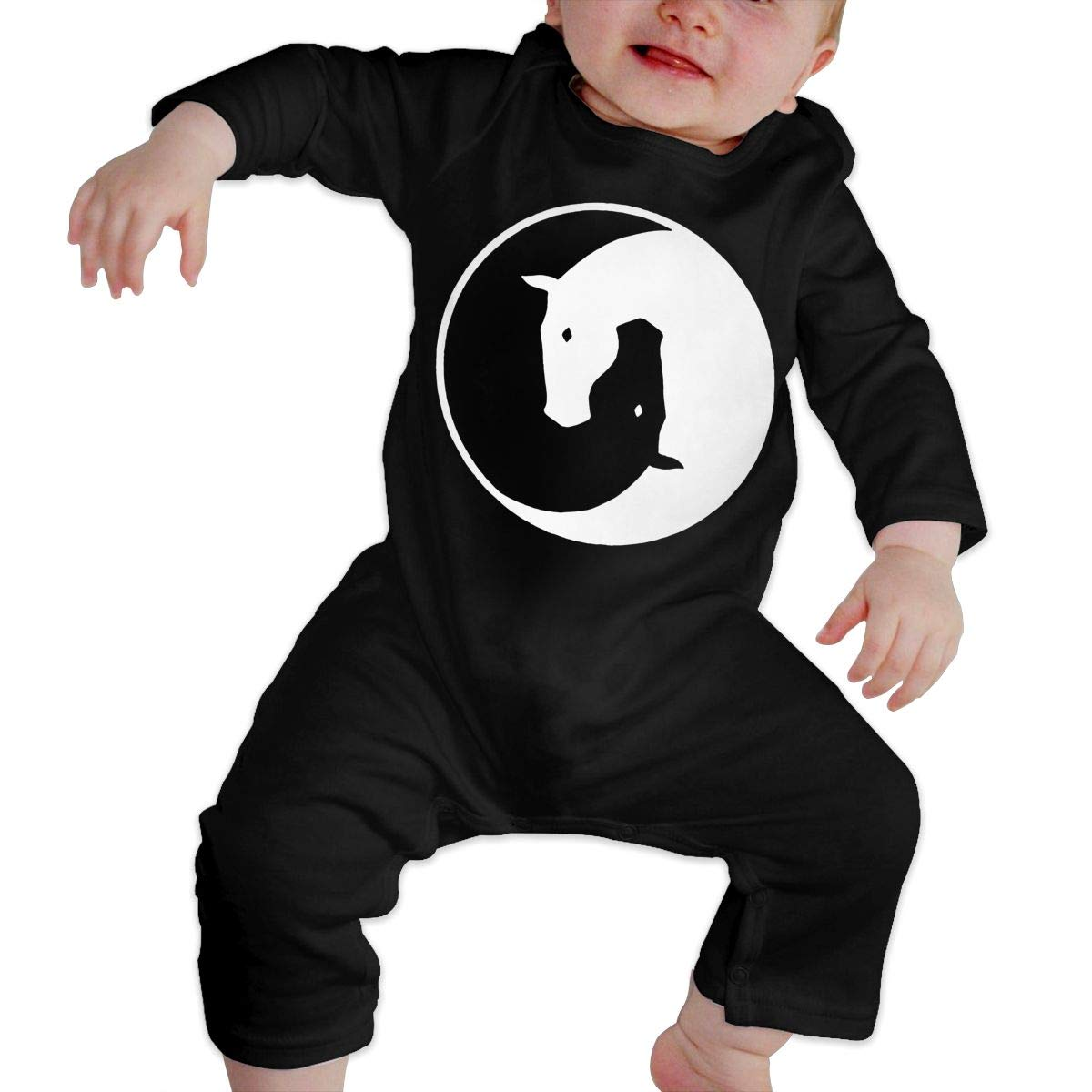 Long Sleeve Cotton Rompers for Baby Boys and Girls Fashion Yin Yang Horses Playsuit
