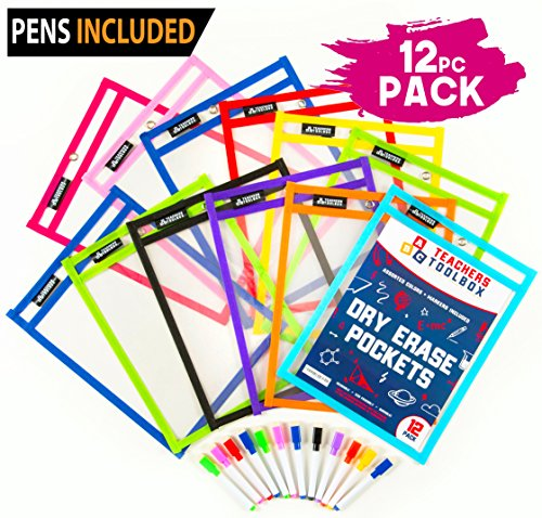 "Dry Erase Pockets 12pc [10"" x 13""] +FREE PENS +BONUS 900 Downloadable Worksheets! Write and Wipe Reusable Plastic Sheet Protectors For Classroom Organization & Teaching Supplies by Teachers Toolbox"