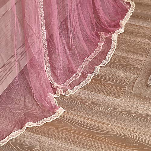 Mosquito Net Bed Canopy U-raill Type Pull Three-Door Thick Stainless Steel Bracket Alloy Elbow Net Tent Indoor Decorative (Gradient),Pink,150200CM by LINLIN MOSQUITO NET (Image #2)