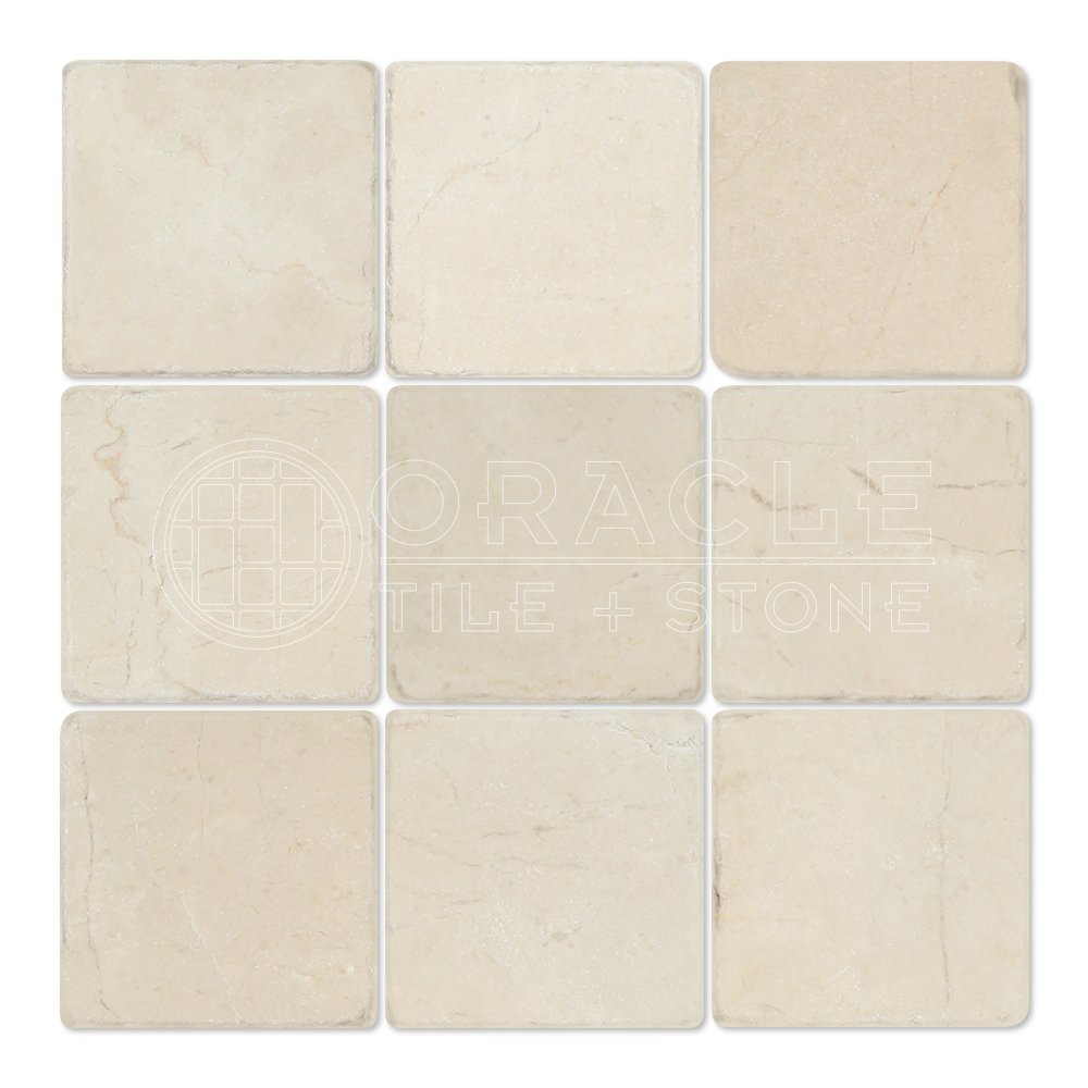 Crema Marfil Spanish Marble 4 X 4 Subway Field Tile, Tumbled