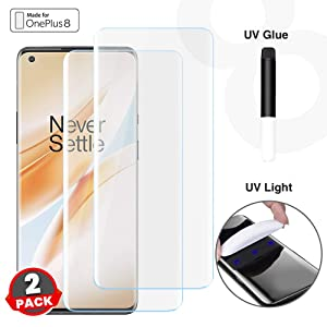 CASE U Advanced Border-less Full Edge to Edge UV Screen Protector Tempered Glass with installation kit for OnePlus 8 - Pack of 2