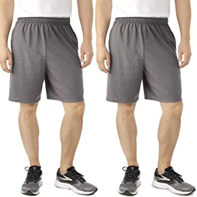 3fe61d88b6538 Amazon.com: Fruit of the Loom 2 Pack Tagless Mens Shorts with Pockets 9  inch Inseam Athletic Cotton Running Shorts: Clothing
