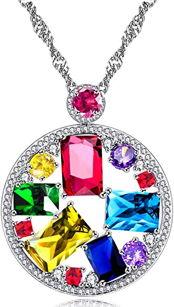 Sterling silver 5mm square pink cubic zirconia pendant necklace Gift box