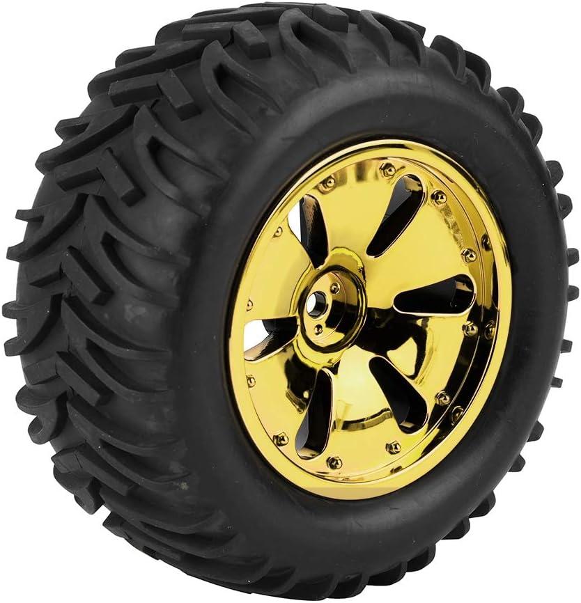 RC Auto-Gummireifen Gold 2 St/ück Gummireifen Reifen mit Felgennaben f/ür HPI //// MT//ZD Racing//LRP 1//10
