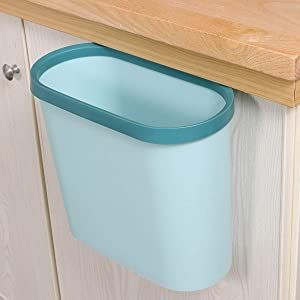 INSHA Hanging Trash Can,Small in-Cabinet Kitchen Garbage Bin Can Easy Attached to Cabinet Door Kitchen Drawer Car Waste Can with Top Ring to Fix Garbage Bag