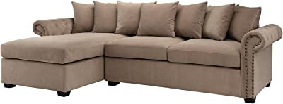 Modern Large Tufted Velvet Sectional Sofa, Scroll Arm L-Shape Couch (Brown)