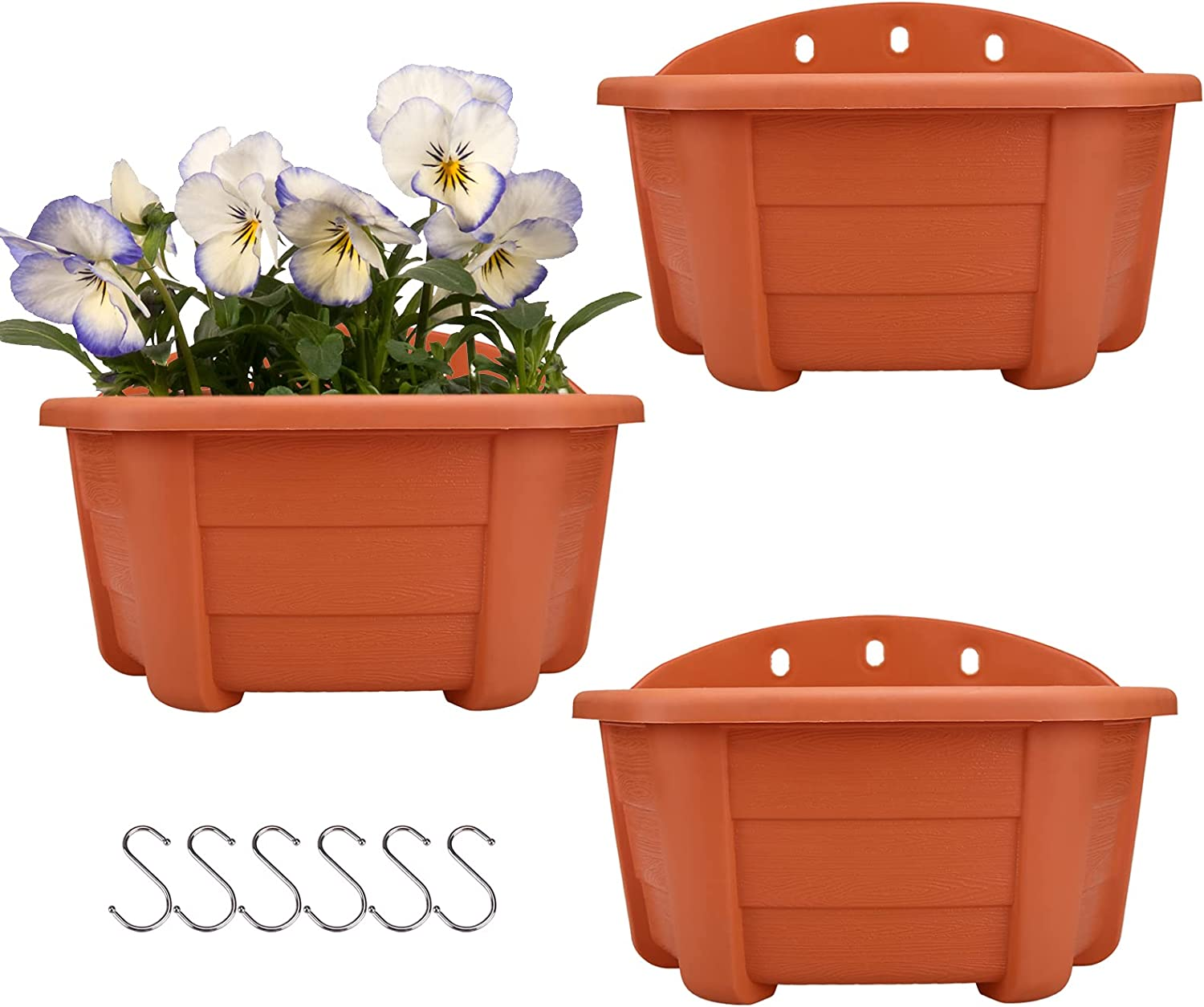 """9.84"""" Wall Hanging Planters Railing Hanging Planters Plants Flowers Plastic Pots Baskets for Balcony Fence Garden Outdoor Indoor 3 Wall Pots(Terracotta red Color)"""