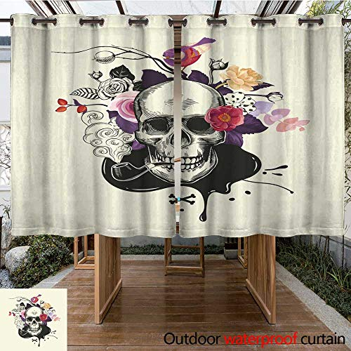 RenteriaDecor Outdoor Curtains for Patio Sheer Human Skull Drawn in Etching Style with Smoking Pipe in Mouth Against Bouquet of Half Colored Roses Crossed Bones and in W108 x L72