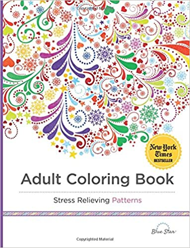 Adult Coloring Book Stress Relieving Patterns Blue Star 9781941325124 Amazon Books