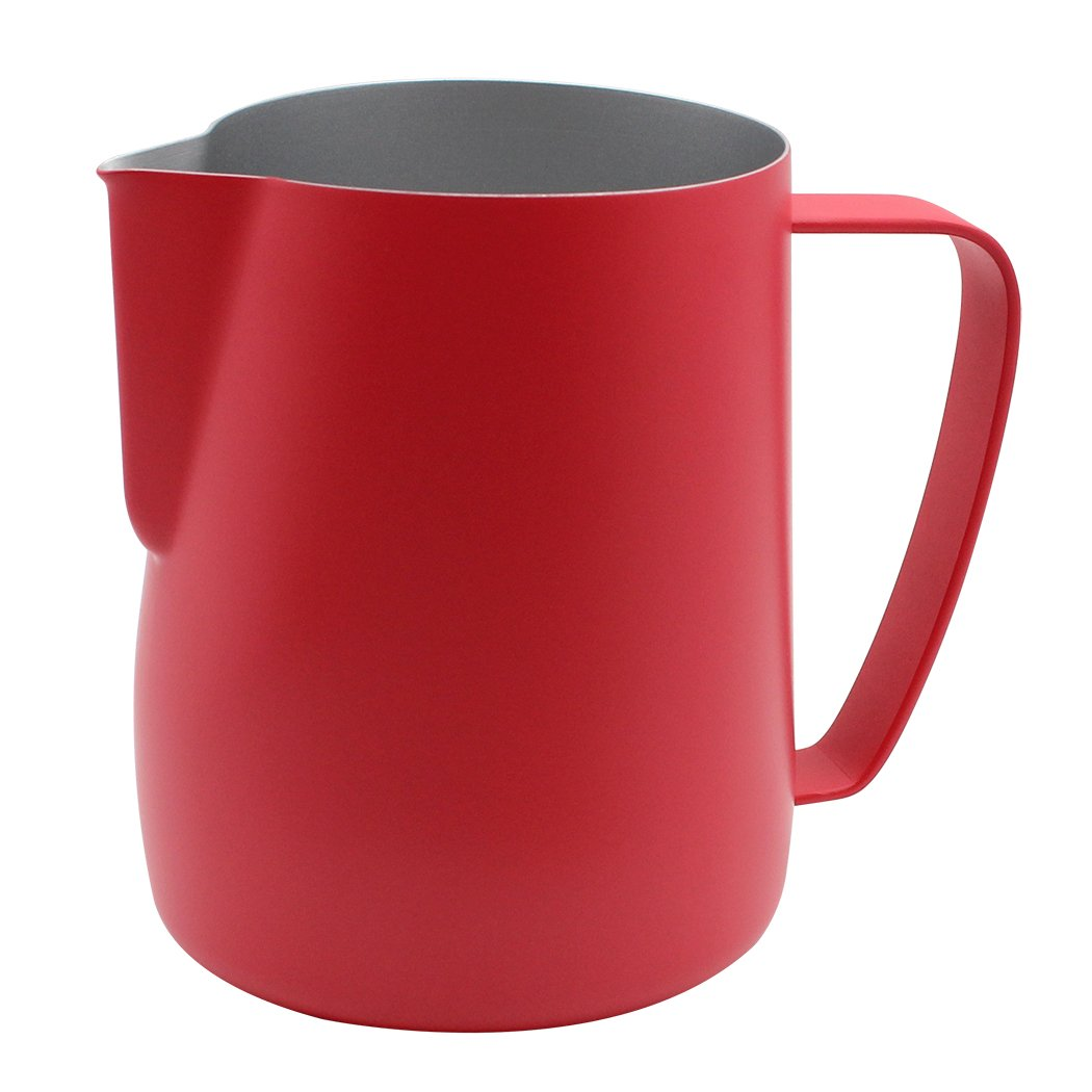 Dianoo Stainless Steel Frothing Pitcher Jug Milk Frothers Cup Suitable For Coffee, Latte And Frothing Milk 600ml Red