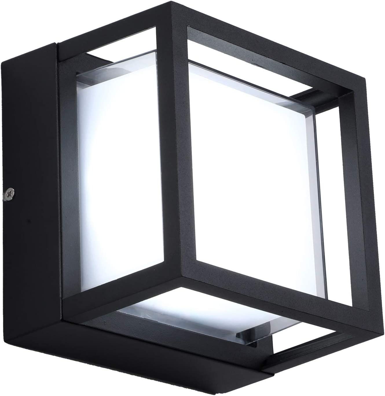 LIGHTESS Outdoor Wall Light Modern Exterior Light Fixtures Square Outdoor Wall Sconce 18W Black Front Door Wall Lamp Ip65 Waterproof for Garden Pathway Yard, Cool White