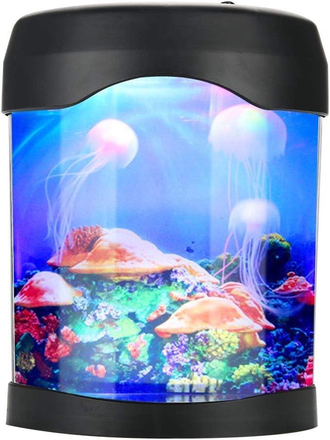 Dilwe Mini Acquario Artificiale Lampada da Acquario con Serbatoio da Tavolo con Lampada da Notte Multicolore per Bambini//Uomini//Donne Grandi Regali