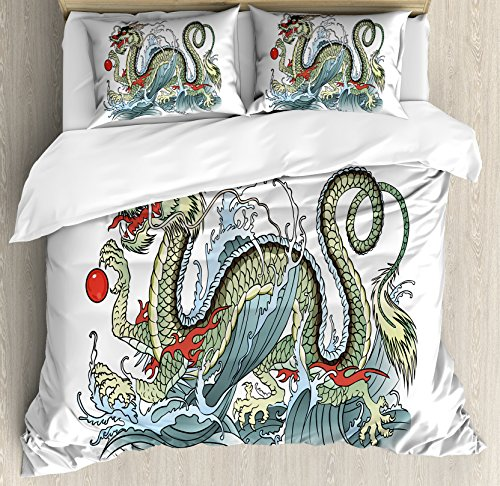 Far Eastern Decor (Japanese Dragon Duvet Cover Set King Size by Ambesonne, Far Eastern Water Dragon Splashing Waves Legend Creature, Decorative 3 Piece Bedding Set with 2 Pillow Shams, Pale Green Vermilion Sage)