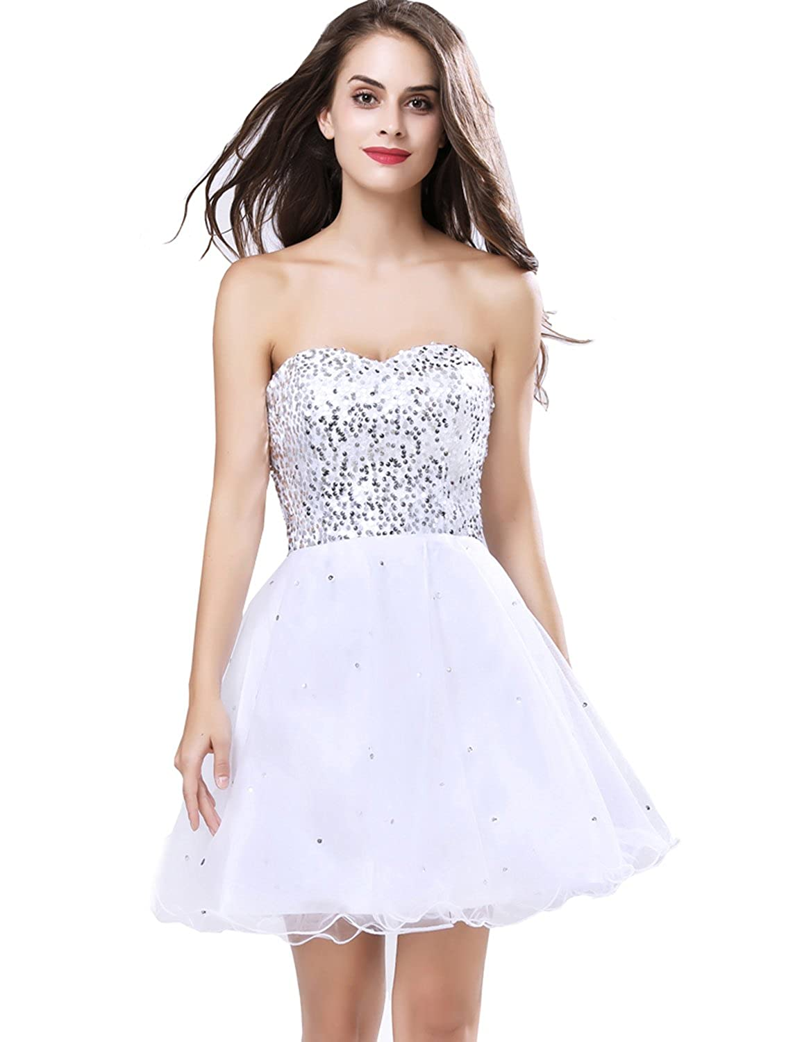 32white Belle House Junior's Lace Short Prom Party Ball Gowns Sweetheart Homecoming Dresses