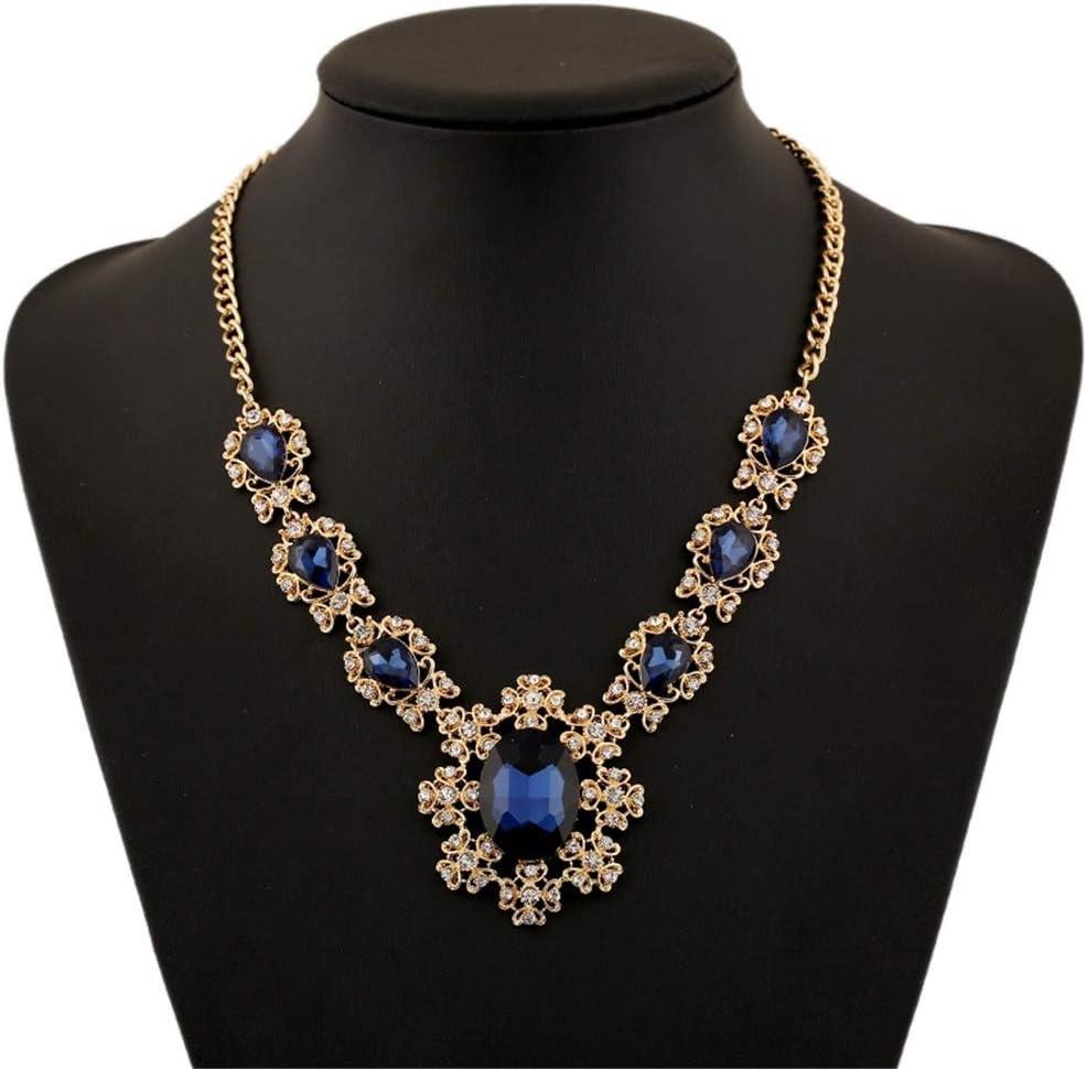 Bib Choker Collar llamativos para Mujer, Declaración de imitación de la lágrima de la piedra preciosa del Rhinestone cristalino geométrica Strand Gargantilla Collar babero de las mujeres collar de hue