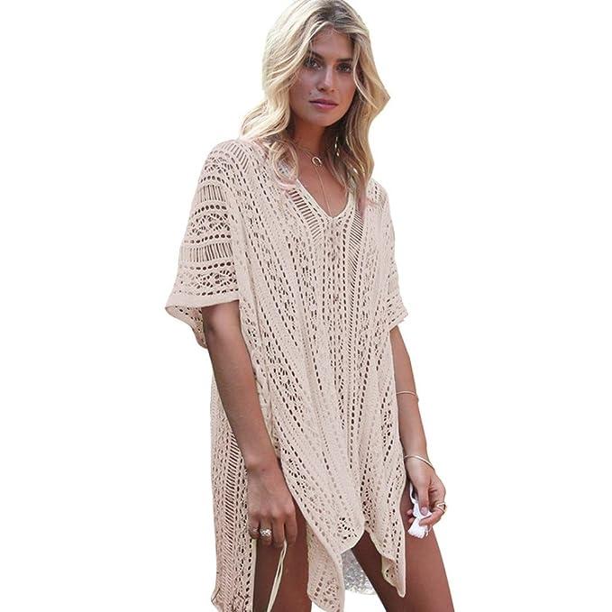 8eccc96fba8 FENZL Women Hollow Out Bathing Beach Cover Up Dress Bikini Swimsuit Swimwear  Crochet Smock (Free