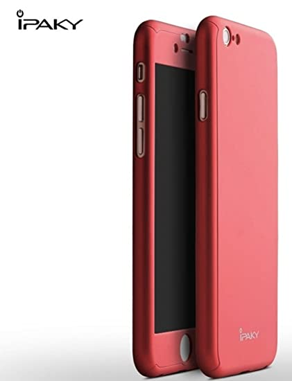 san francisco 49949 63dd6 iPaky 360 Protective Body Case with Tempered Glass for Apple iPhone SE 5 5S  - Red