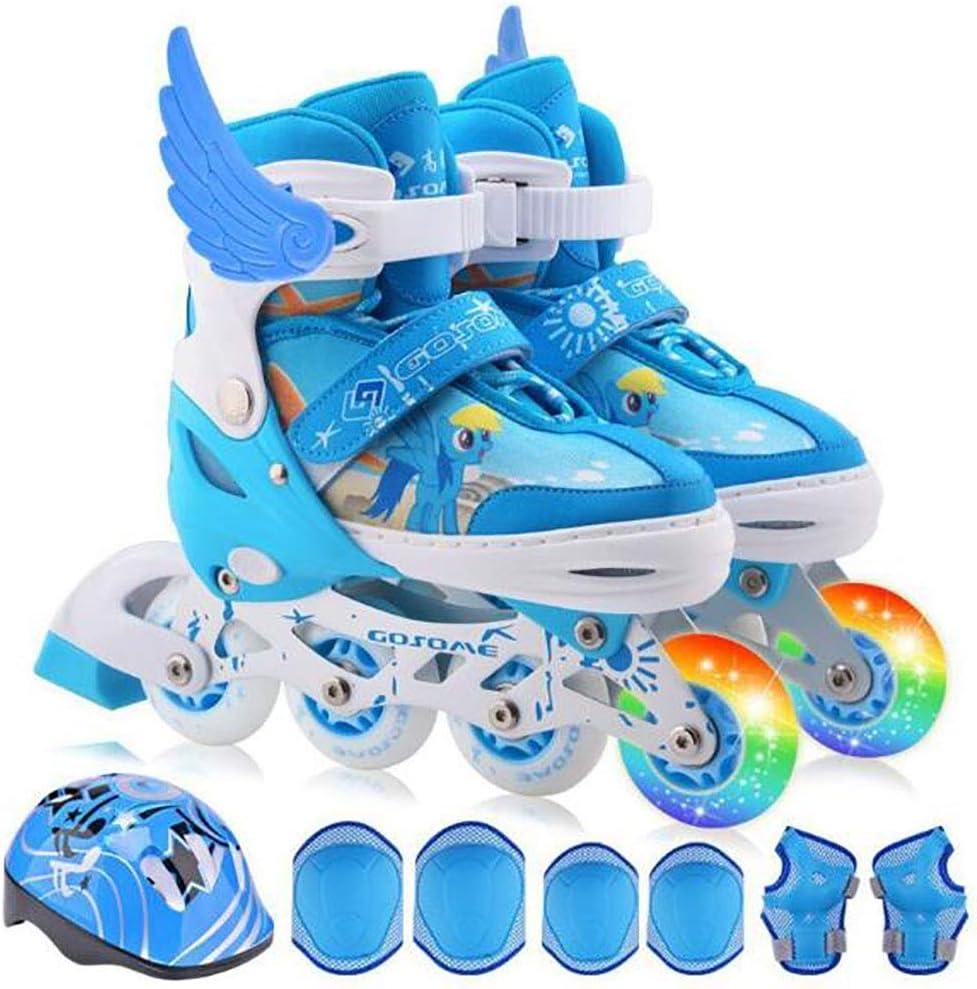 ライトアップホイール、調節可能で快適な ライニングローラースケートを備えたインラインスケート初心者や子供向けの点滅照明ローラースケート,ブルー,S 青 Small