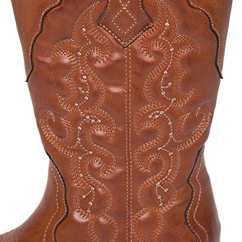 Laras Mujeres Mid Calf Cowboy Cowgirl Botas Tan