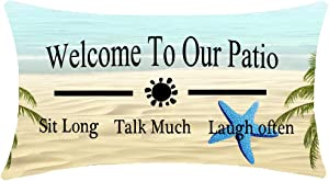 Enjoy Summer Time Tropical Beach Starfish Welcome To Our Patio Couch Sofa Decorative Lumbar Cotton Linen Body Throw Pillow Case Cushion Cover Oblong 12x20 inches