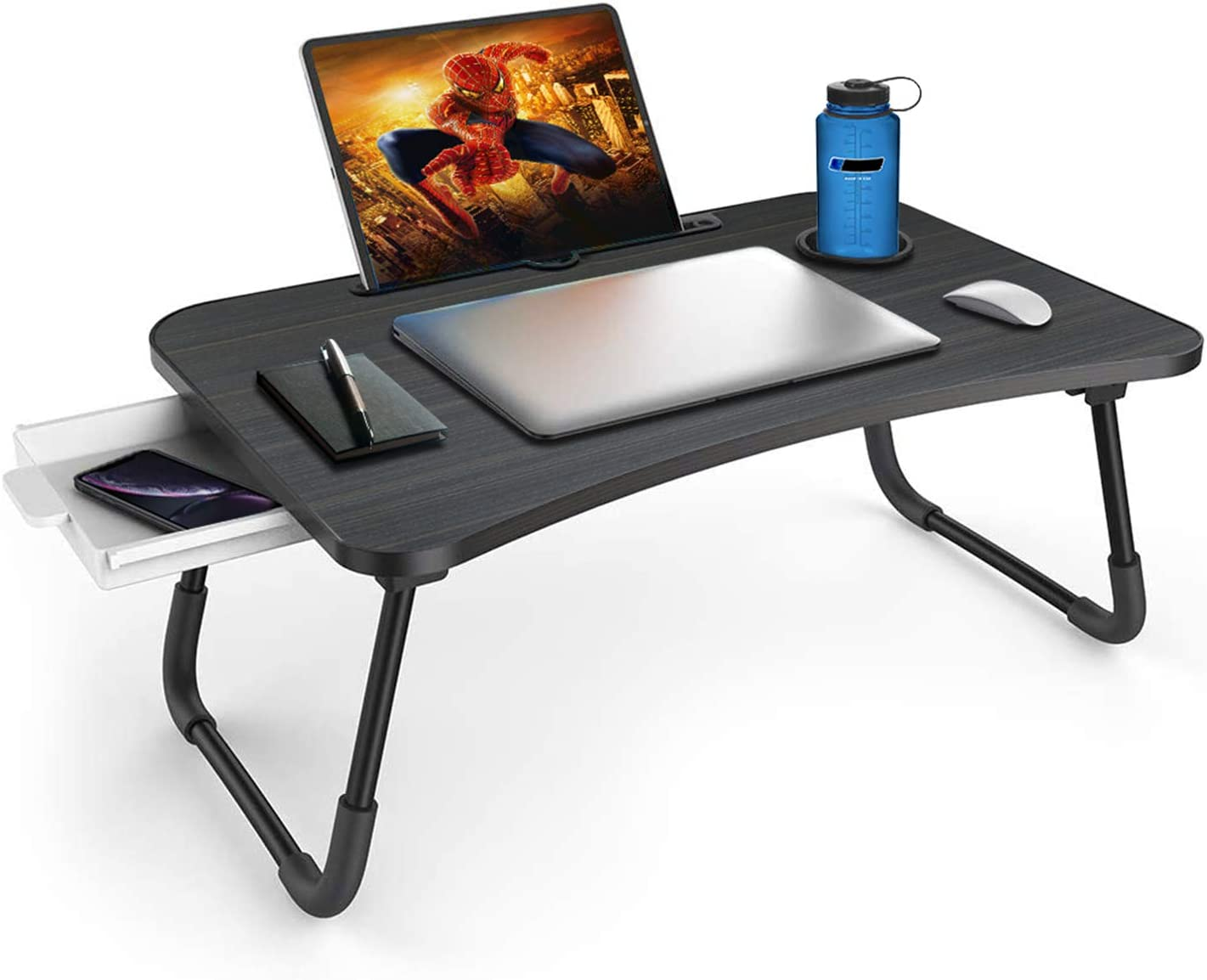 Zapuno Foldable Laptop Bed Table Multi-Function Lap Bed Tray Table with Storage Drawer and Water Bottle Holder, Serving Tray Dining Table with Slot for Eating, Working on Bed/Couch/Sofa (Arc Shape)