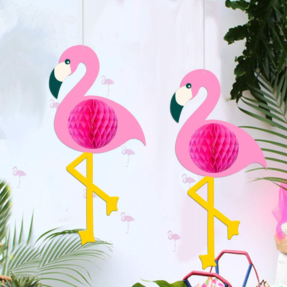 Flamingo Party Supplies - Tropical Pink Flamingo Party Honeycomb Decoration, Pom Poms Paper Flowers Tissue Paper Fan Paper Lanterns for Hawaiian Summer Beach Luau Party Birthday Party Supplies