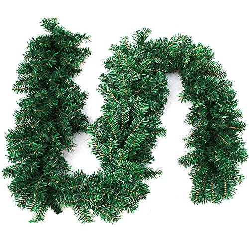 cherry Juilt 9 Feet Christmas Garland Decorations Outdoor Indoor Artificial Pine Wreath Xmas Decorations for Wall Door Stairs