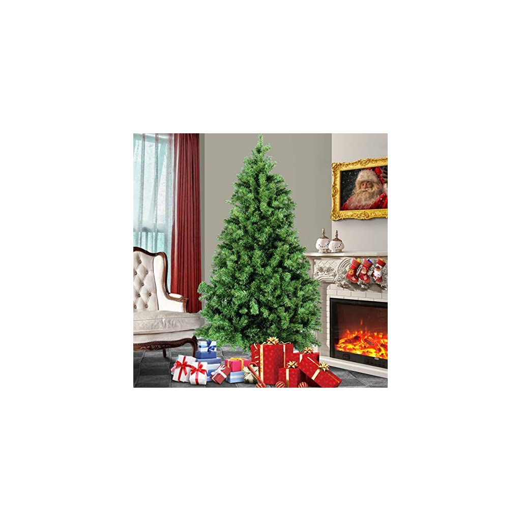Belleze-Premium-Pre-Lit-Fiber-Optic-6-7-75-ft-Artificial-Christmas-Tree-wColor-LED-Multicolor-Lights-and-Stand-Green