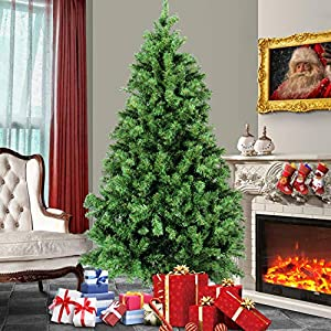 Belleze Premium Pre-Lit Fiber Optic 6', 7', 7.5' ft Artificial Christmas Tree w/Color LED Multicolor Lights and Stand, Green 2