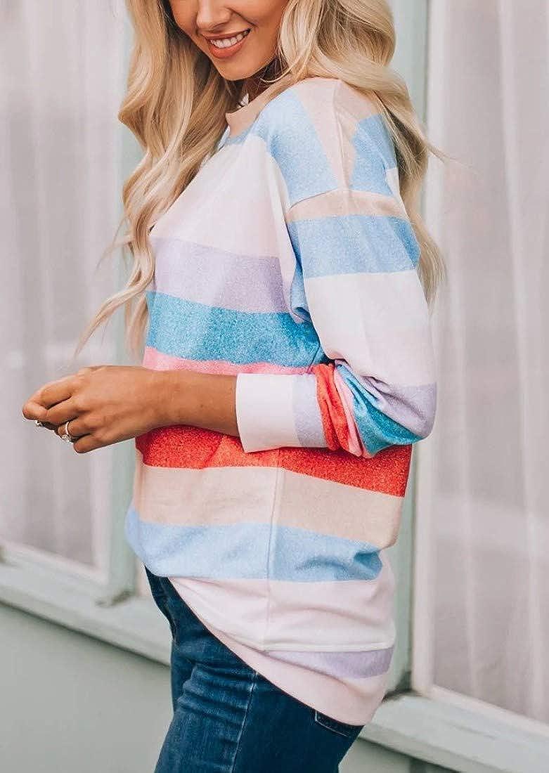 Fronage Womens Rainbow Striped Shirts Long Sleeve Cute Tops Oversized Pullover Sweatshirts