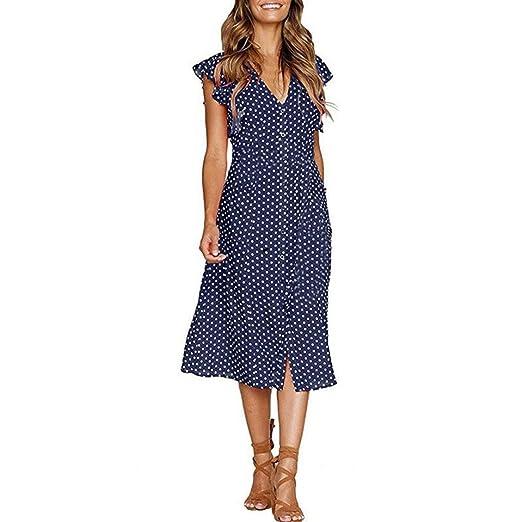 Teresamoon Womens 50s Vintage Polka Dots Print Swing Long Maxi Dress