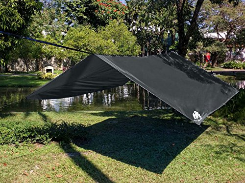 NEW Chill Gorilla 10' Super-Fly, Grey Waterproof Tent Tarp, Rain Fly, Hammock Shelter [Essential Camping and Survival Gear] DIAMOND RIPSTOP Nylon 10' x 10' Grey