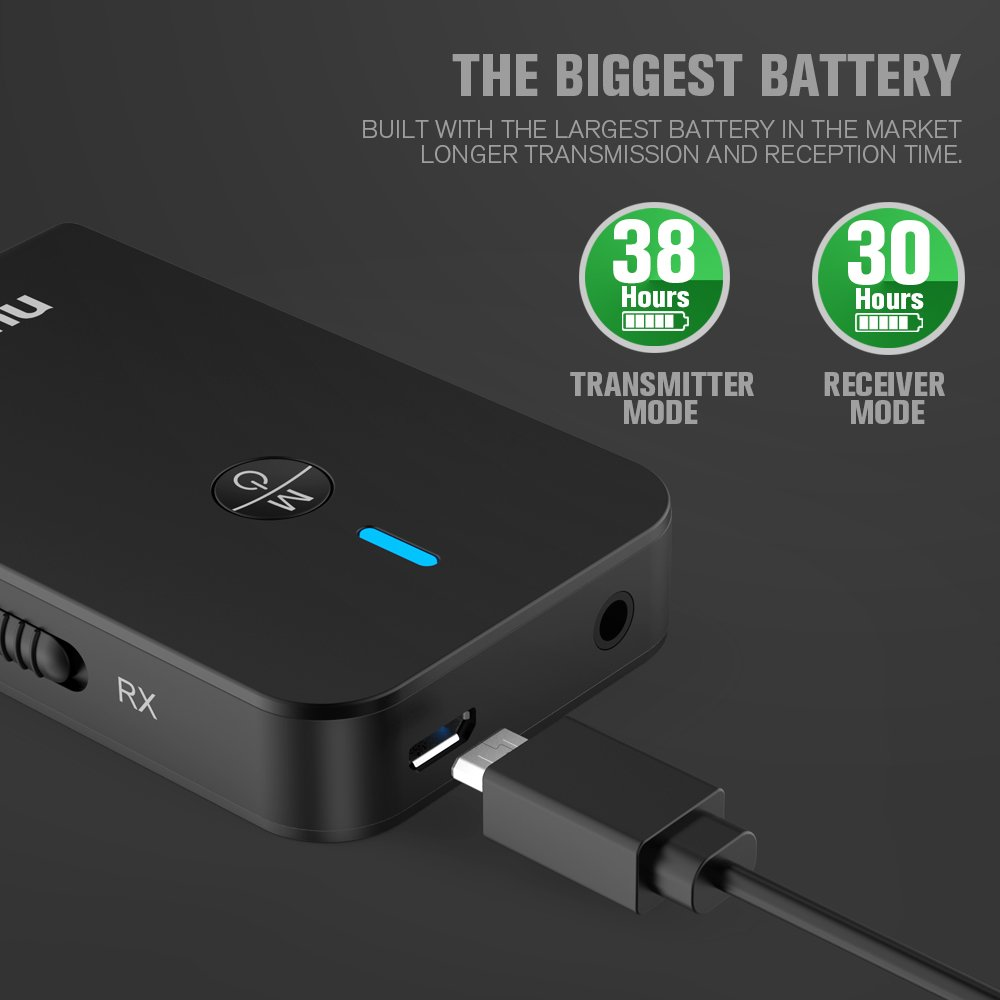 Nulaxy 2in1 Bluetooth Transmitter Receiver 3.5mm AUX Wireless Audio Adapter 30 Hours Battery 2 Devices Simultaneously for TV, Home Stereo, Headphones and More - BR18, Black