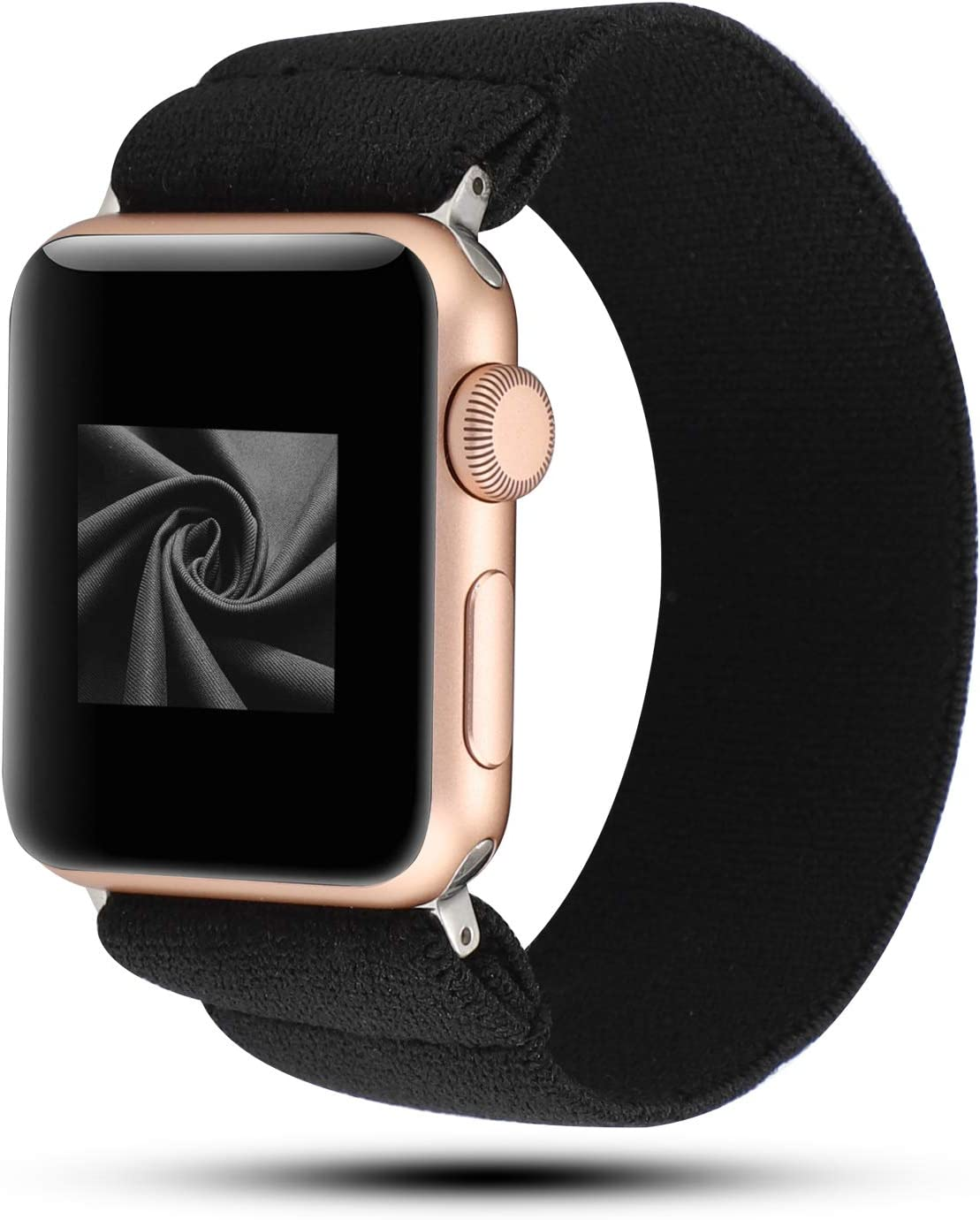 YOSWAN Stretchy Loop Strap Compatible for Apple Watch Band 40mm 38mm 44mm 42mm iWatch Series 6/5/4/3/2/1 Stretch Elastics Wristbelt (Nylon Black, 42mm/44mm)