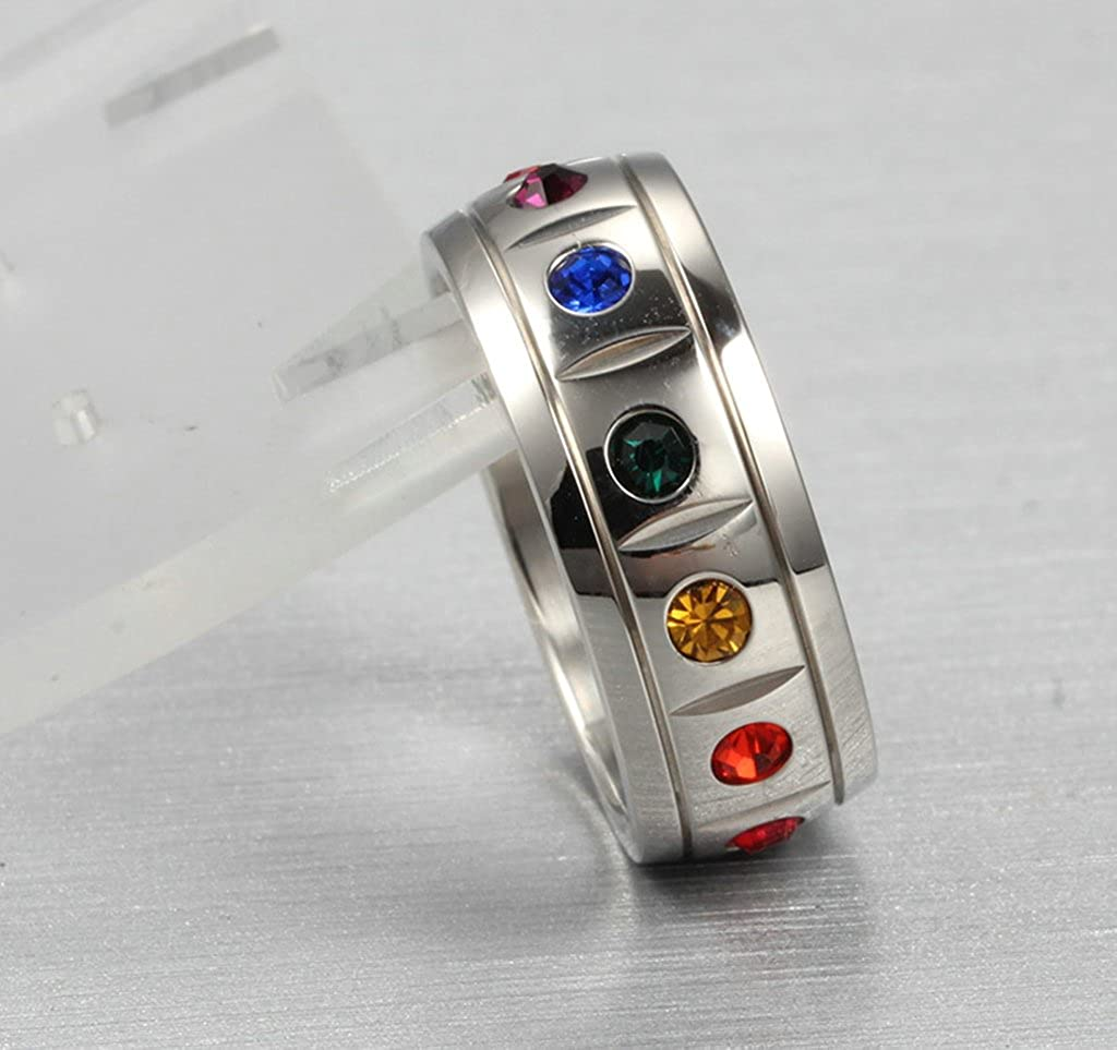 Stainless Steel Ring Rainbow Crystal Width 8MM Silver Wedding Bands For Gay Gnzoe Jewelry