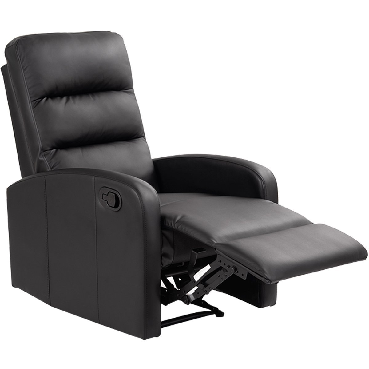 Giantex Manual Recliner Chair Black Lounger Leather Sofa Seat Home Theater (Style 1) HW51431